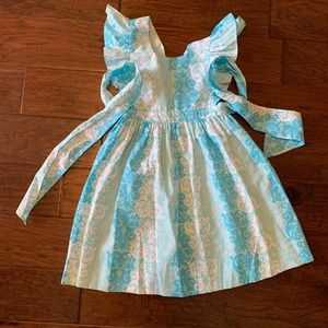Eleanor Rose Damask Blue Girls Dress Size 7/8